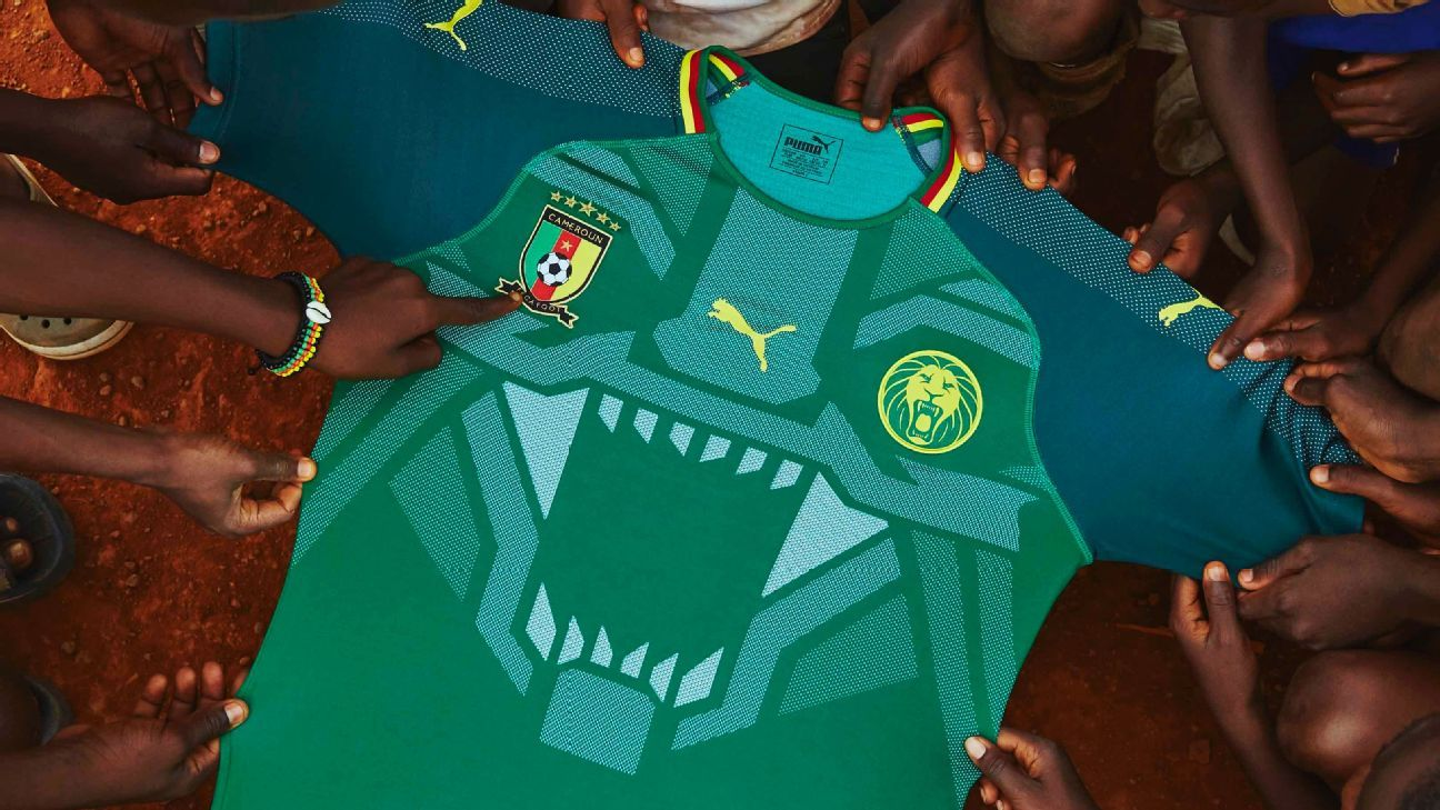 Cameroon's new shirt incorporates a large 'roaring lion' motif right across the chest