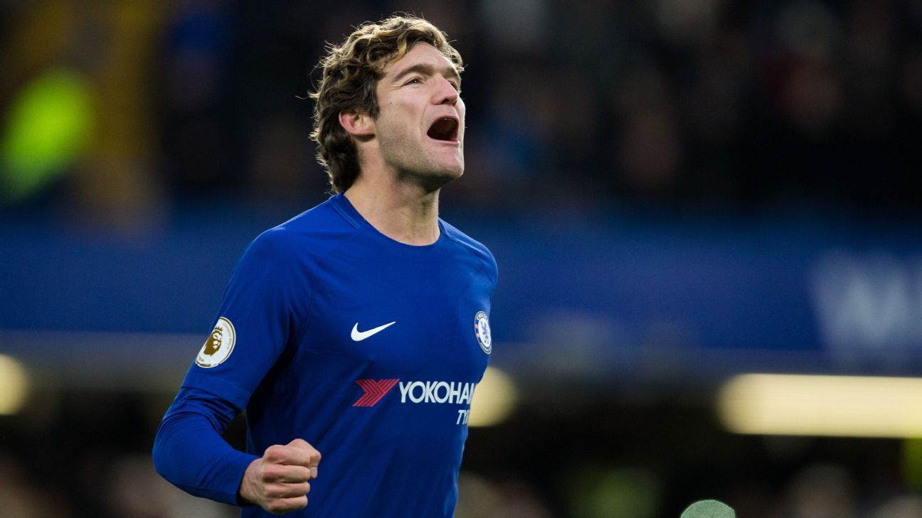 Marcos Alonso celebrates after scoring for Chelsea against Southampton.