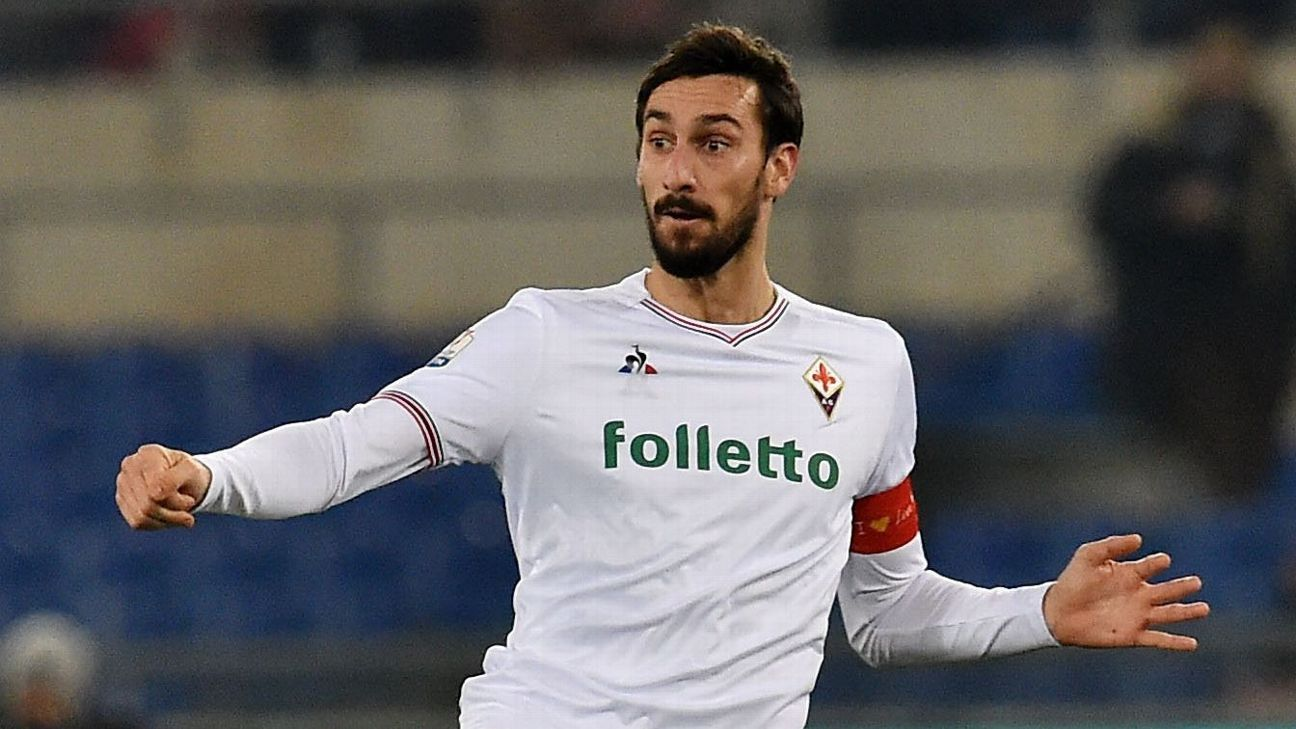 Davide Astori during Fiorentina's match against Lazio.
