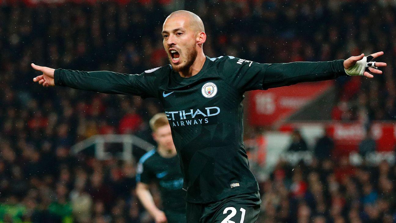 David Silva celebrates his first goal vs. Stoke City.