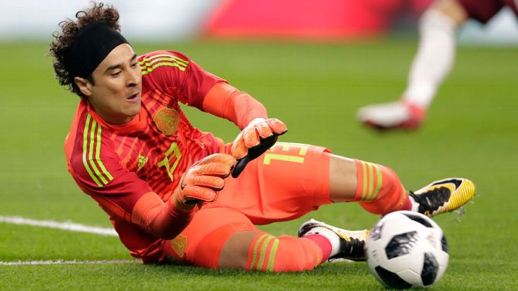 Guillermo Ochoa makes a save during Mexico's friendly against Croatia.