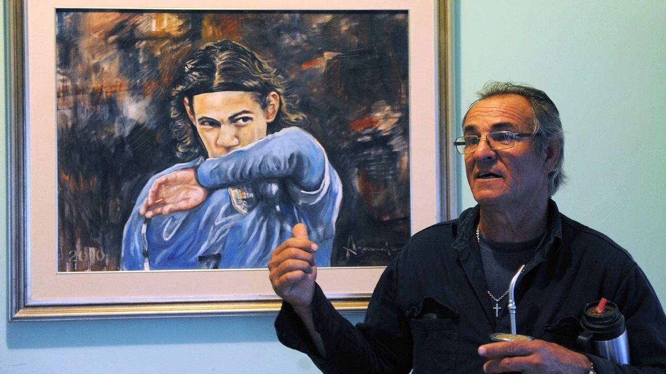 The father of Uruguayan footballer Edinson Cavani, Luis Cavani, speaks to reporters.