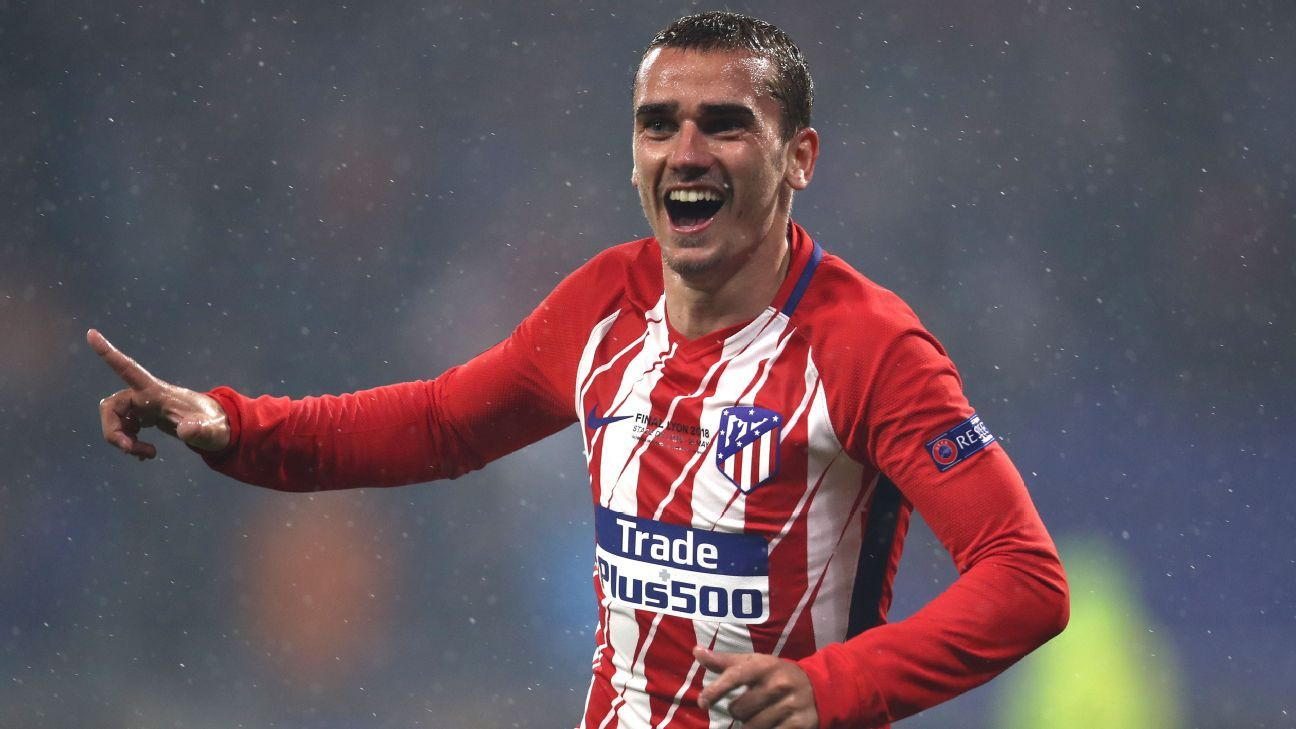 Antoine Griezmann celebrates after scoring in the Europa League final for Atletico Madrid vs. Marseille.