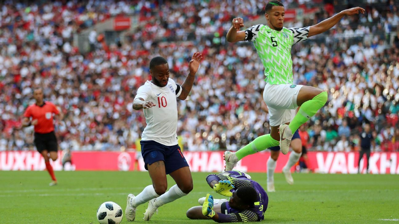 Raheem Sterling dives in the penalty area, earning a yellow card.