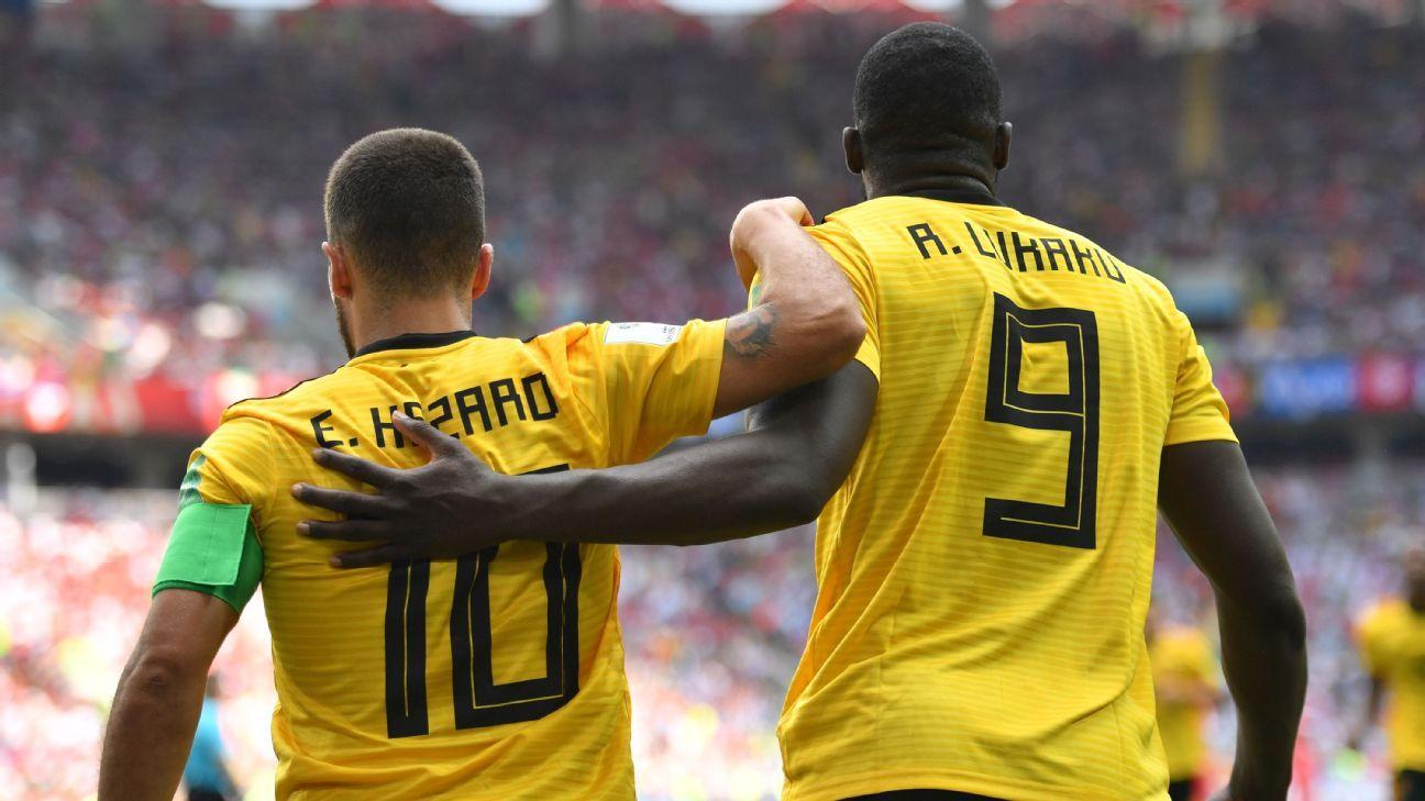 Eden Hazard and Romelu Lukaku celebrate during Belgium's World Cup group-stage win over Tunisia.