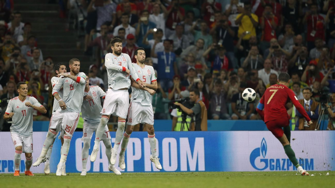 Ronaldo's free-kick goal vs. Spain was one of many highlights in the group stages.