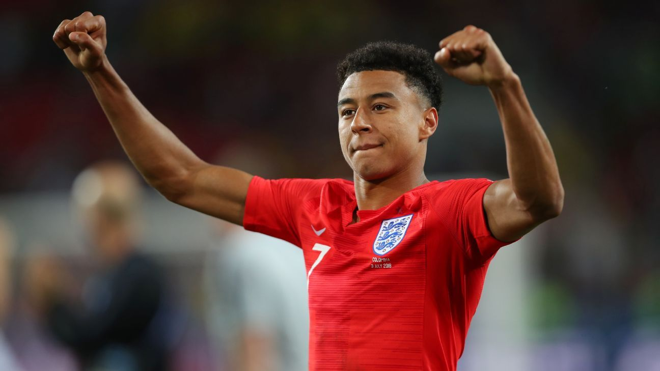 Jesse Lingard celebrates after England's penalty shootout win over Colombia in the round of 16.