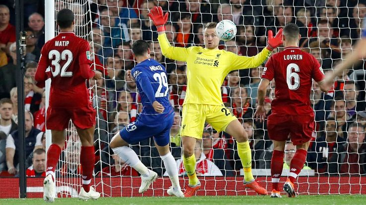 Chelsea's Alvaro Morata has an attempt on goal saved by Liverpool goalkeeper Simon Mignolet.