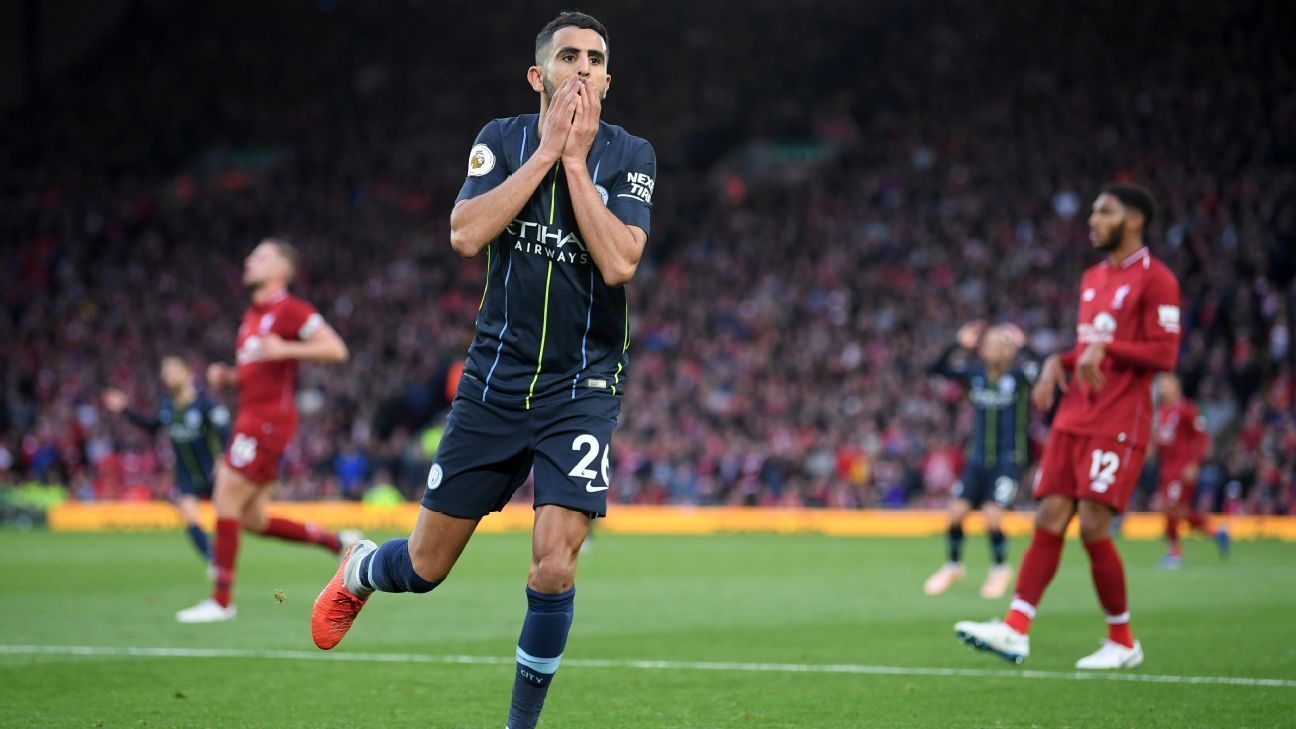Riyad Mahrez of Manchester City reacts after a missed chance.