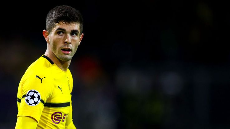 Christian Pulisic looks on during Borussia Dortmund's Champions League match against Club Brugge.
