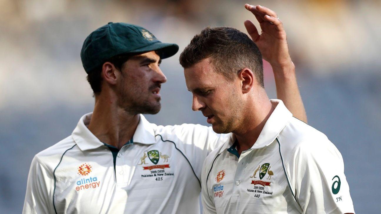 Josh Hazlewood limps off early in New Zealand innings