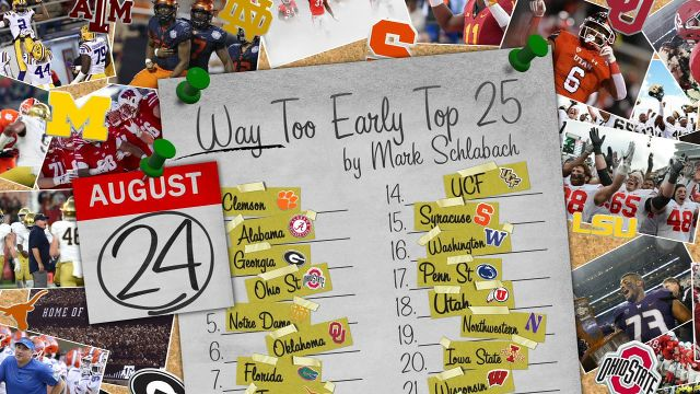 ESPN's college football Way-Too-Early Top 25 for 2019