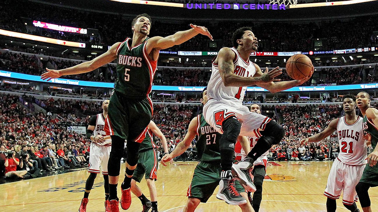 bea41218968c Vintage Derrick Rose means trouble for Bucks - NBA playoffs