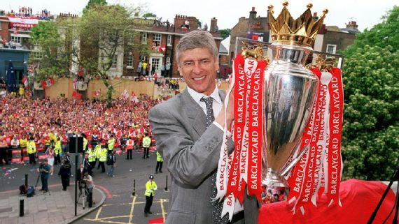 wenger lifting his first double with arsenal in 1996