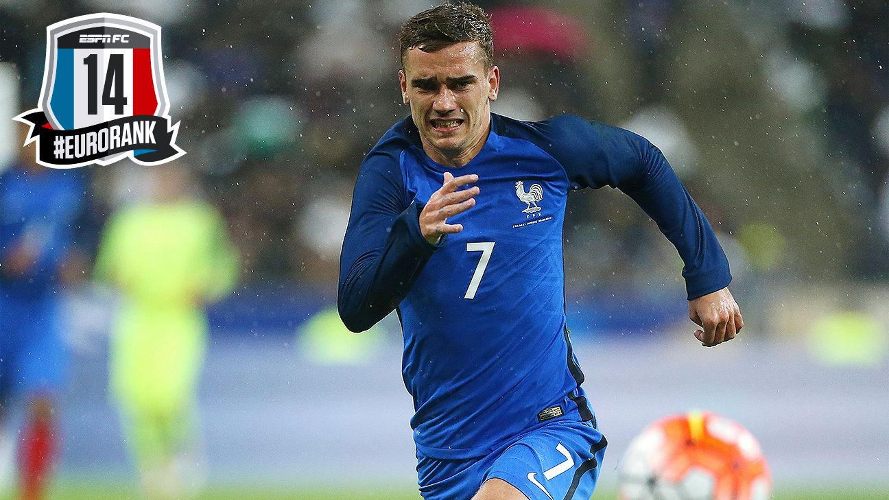1ad77e963f2fe5 France s Antoine Griezmann - 14th in Euro 2016 rank