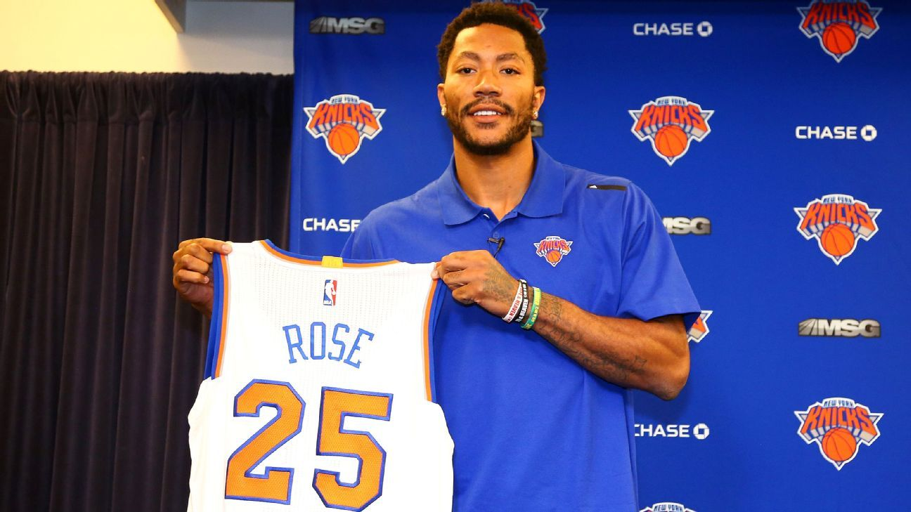 buy online 889eb a3aa3 New York Knicks point guard Derrick Rose says his No. 25 ...