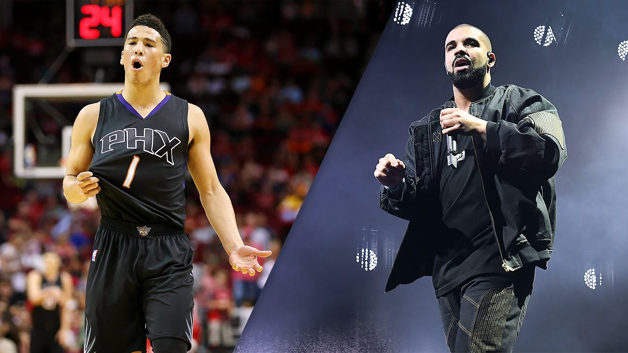 brand new 73390 bf2da Drake wears Phoenix Suns' Devin Booker jersey on stage at ...