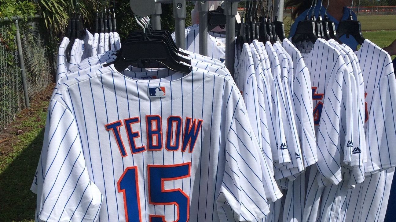 best sneakers e17d7 383c5 New York Mets Tim Tebow jersey sales baseball move already ...