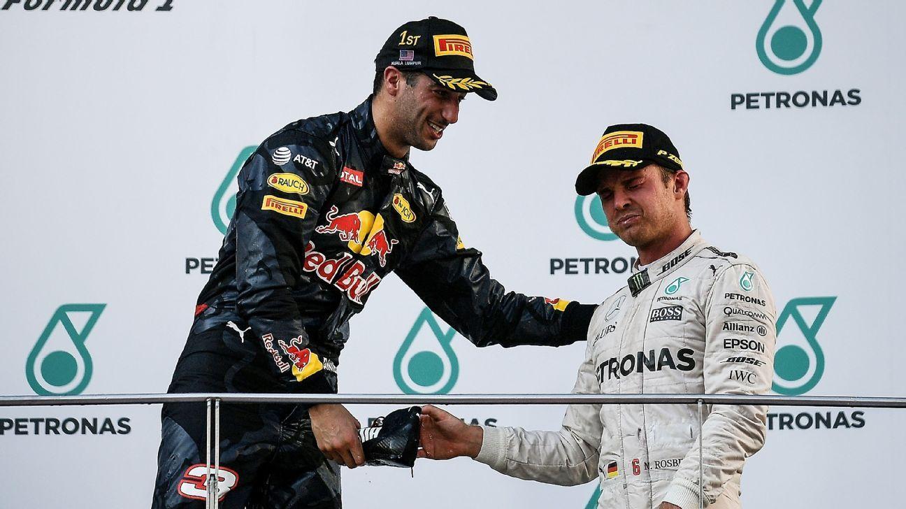 1a38a273e77a6 Podium victims give Daniel Ricciardo s shoey a mixed response