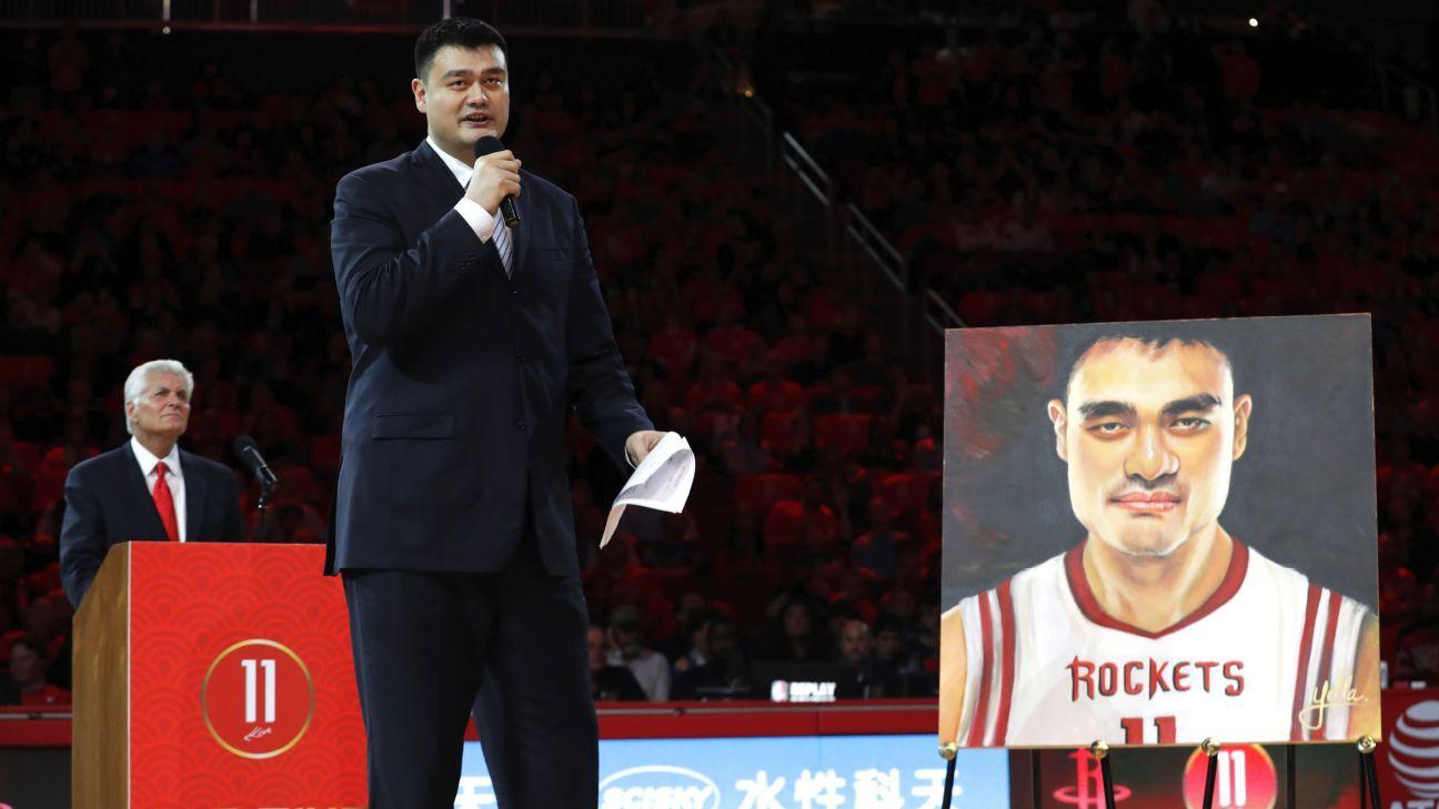sale retailer e85cf 0c9e8 Houston Rockets retire Yao Ming's No.11 jersey Friday night