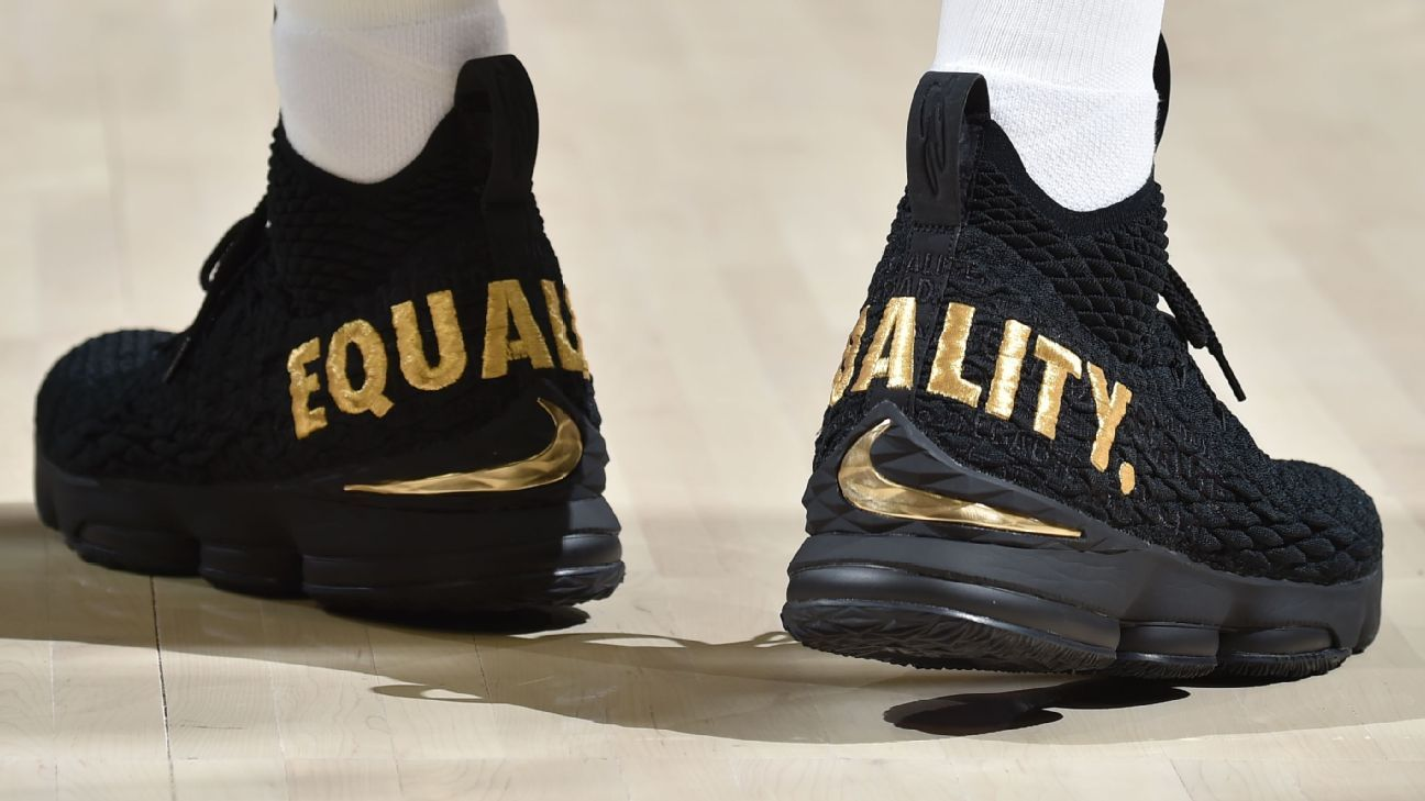 c12eec1b70c LeBron on EQUALITY sneakers in opener   I just wanted to keep the  conversation going  - Cleveland Cavaliers Blog- ESPN