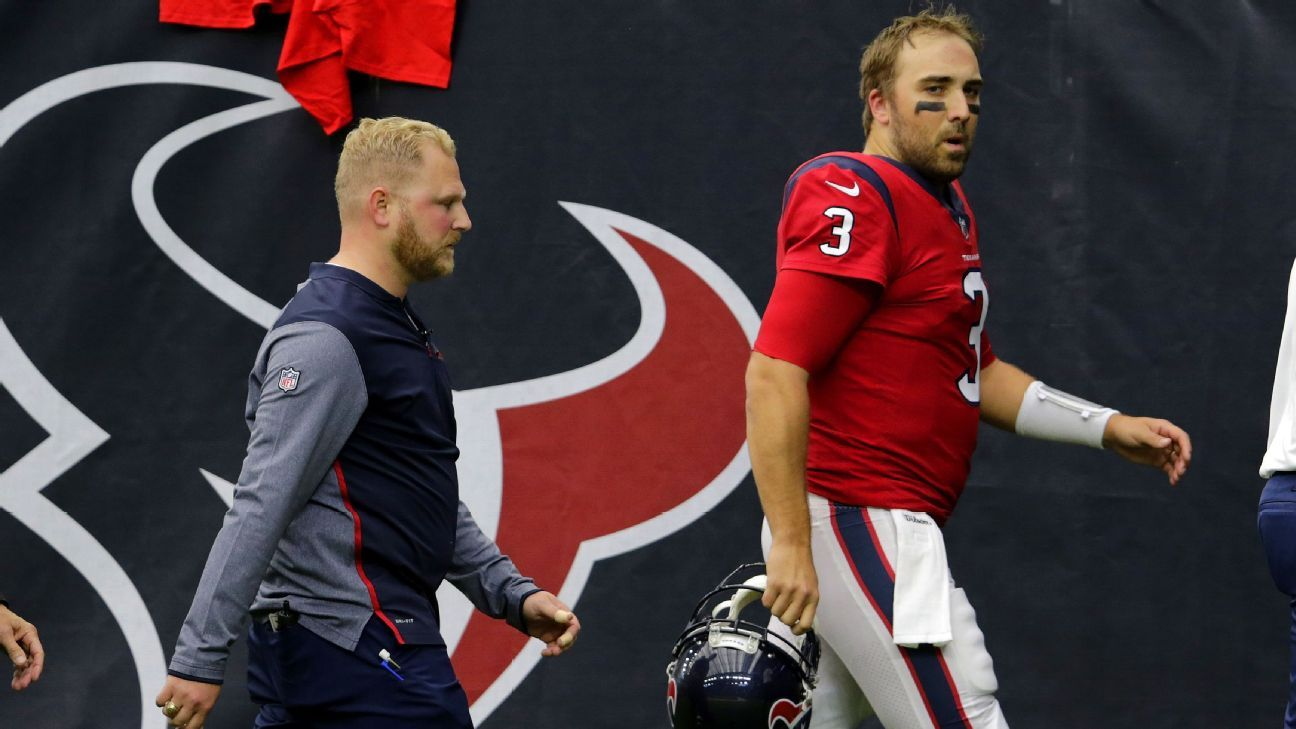 new style 96771 f728f Tom Savage of Houston Texans taken to locker room, seen with ...