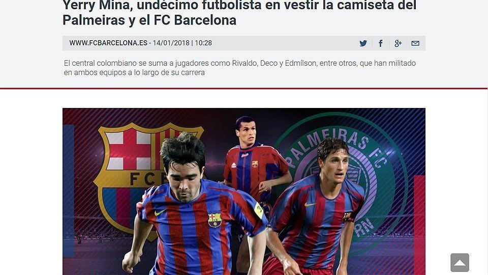 b9736d9dd Gafe! Barcelona fala sobre 'parceria' com Palmeiras e erra escudo do ...