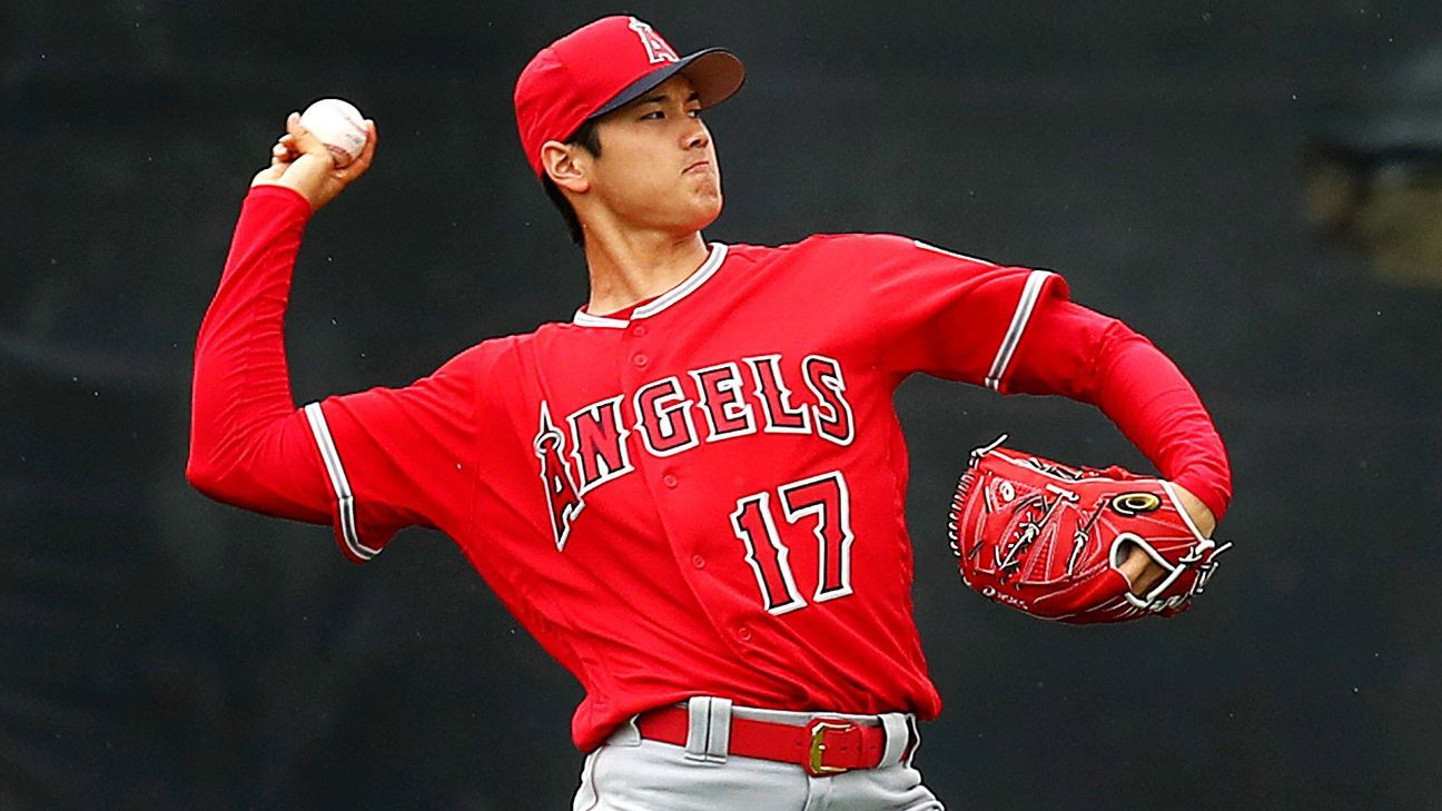 hot sale online 612e7 a8216 Shohei Ohtani concludes first day of spring camp with Los ...