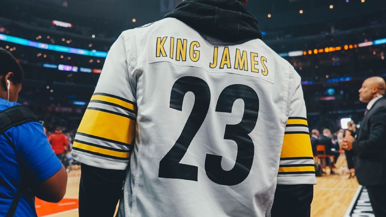 12f7870ad8e The many jerseys of LeBron James represented at Staples Center