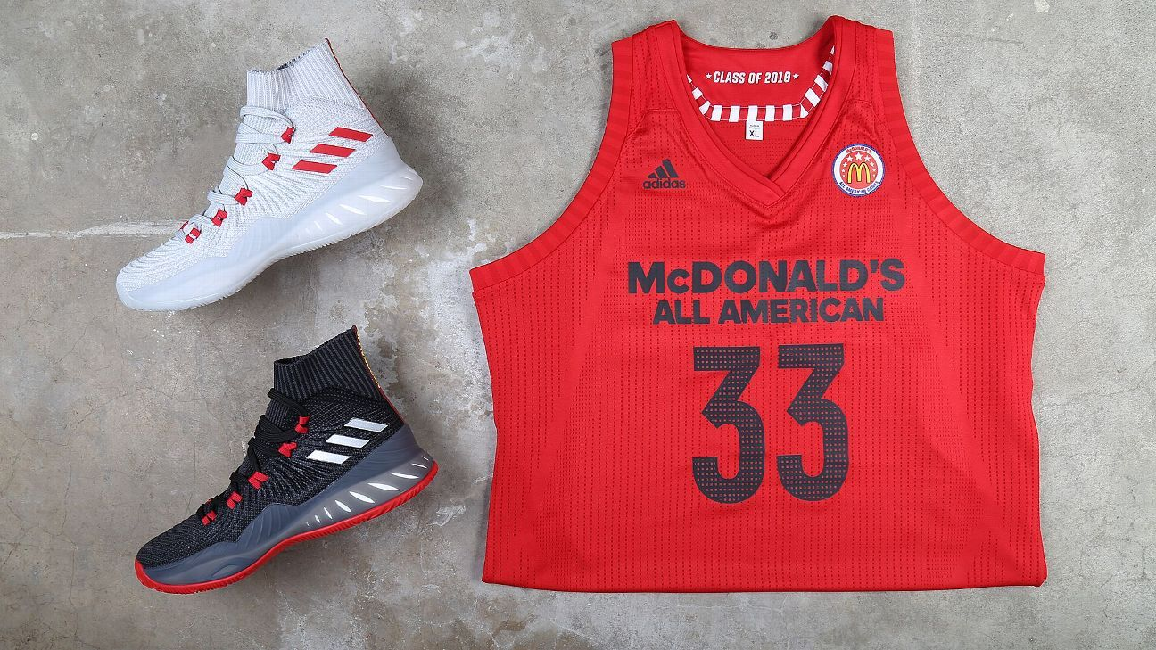 sports shoes 77c70 242c6 Adidas goes back to basics for McDonalds All American Game jerseys,  sneakers