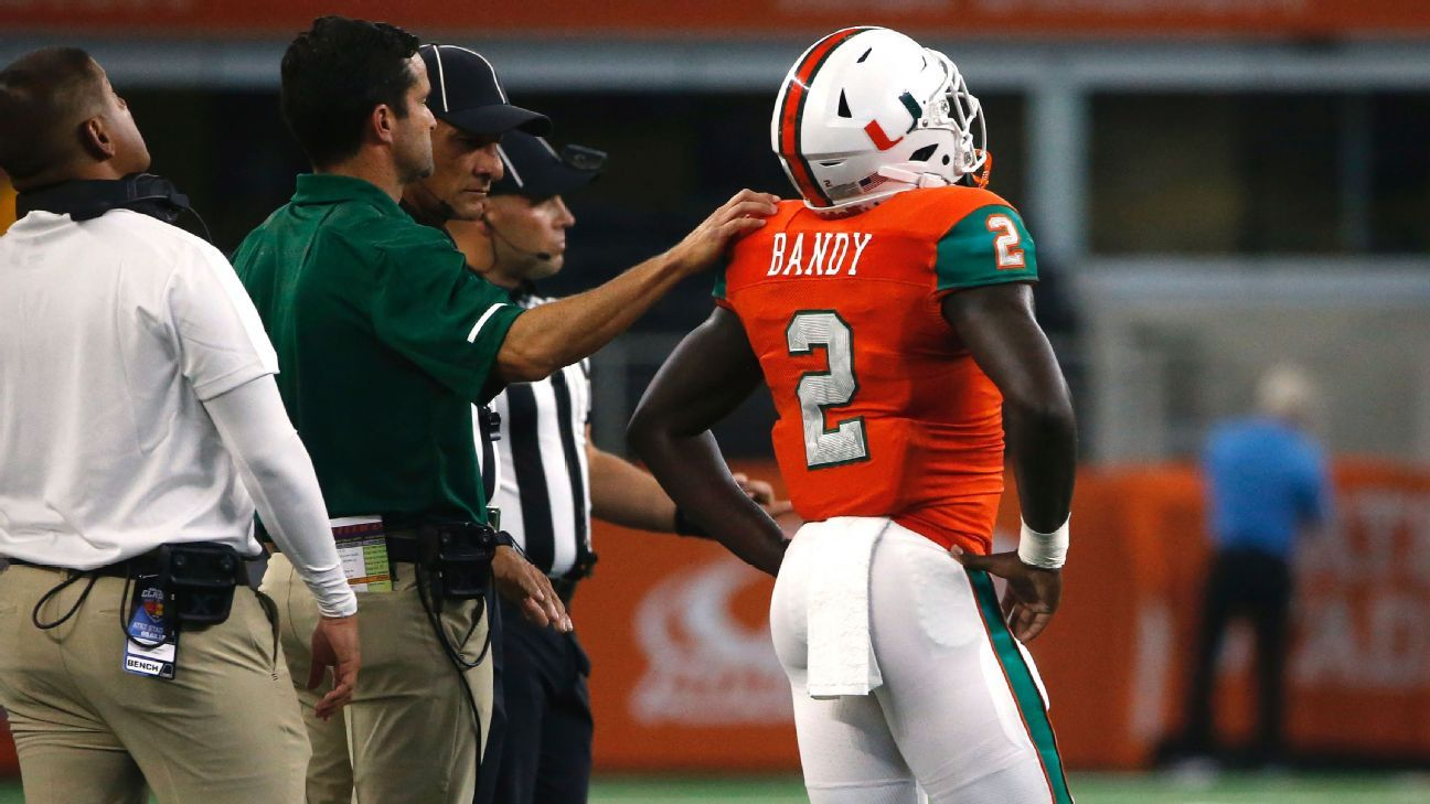 new arrival 581cd ef0cd Miami Hurricanes cornerback Trajan Bandy ejected against LSU