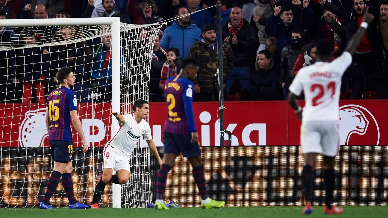 sevilla fc vs  barcelona - football match report - january 23  2019