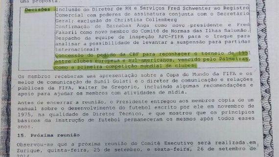 Documento diz que Fifa atendeu CBF e reconheceu título do