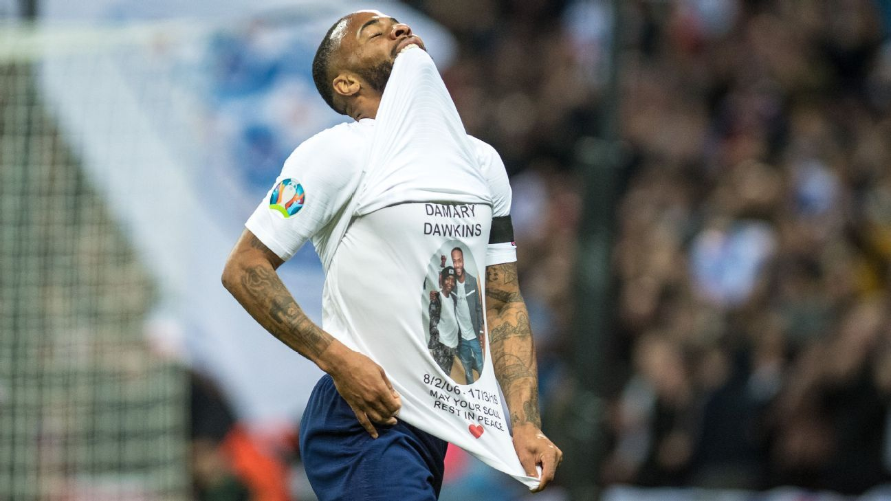 England's Raheem Sterling pays tribute to Crystal Palace youth player after goal
