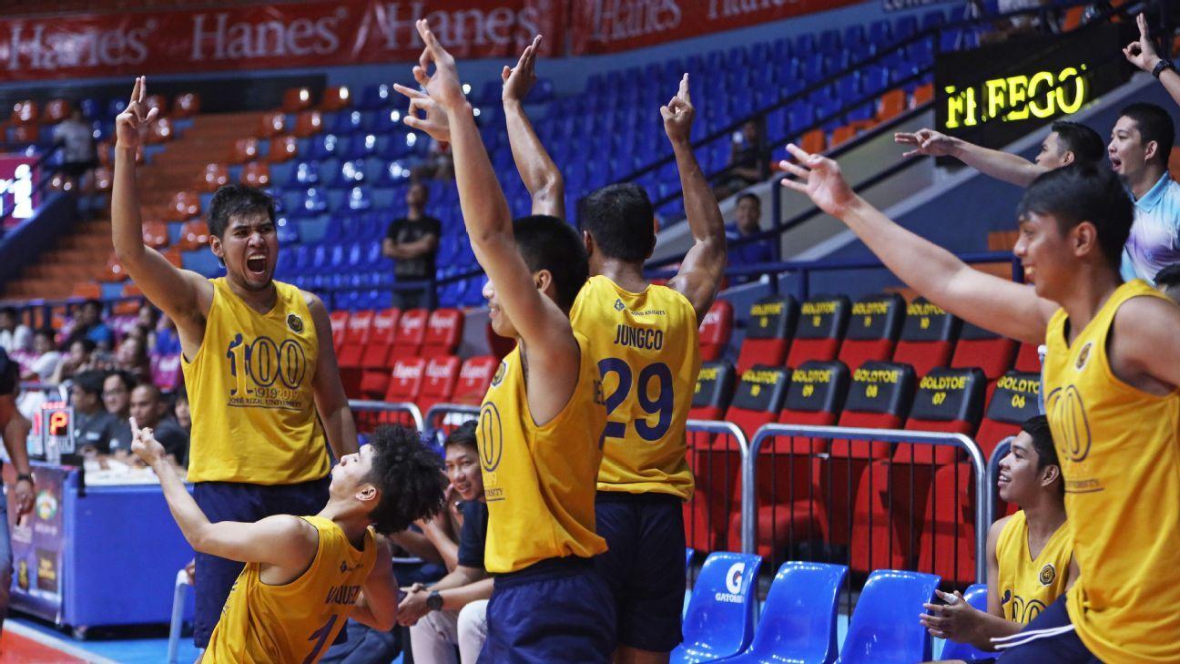 JRU trips EAC to nail first win, DLSU breezes past Arellano