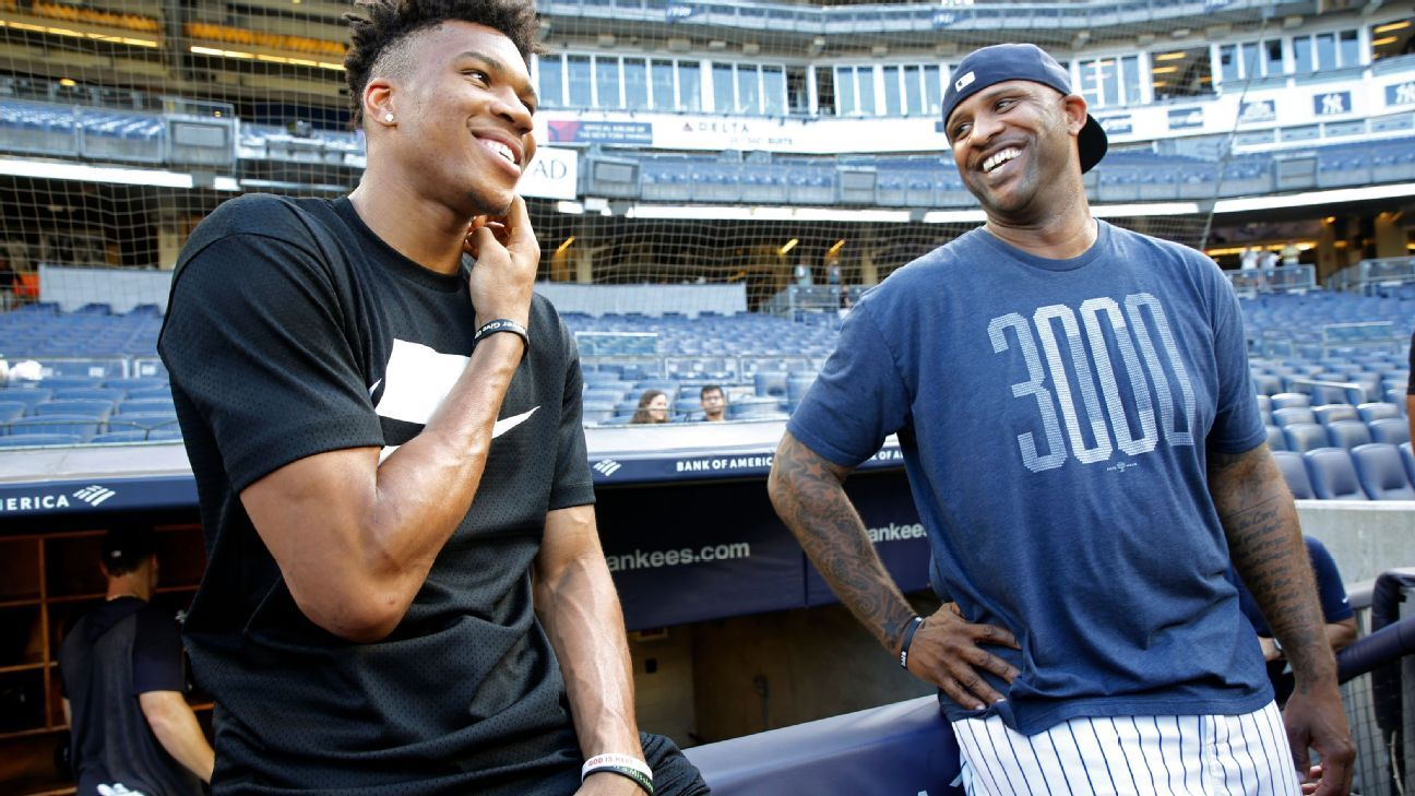 Giannis takes first hacks at baseball with Yankees