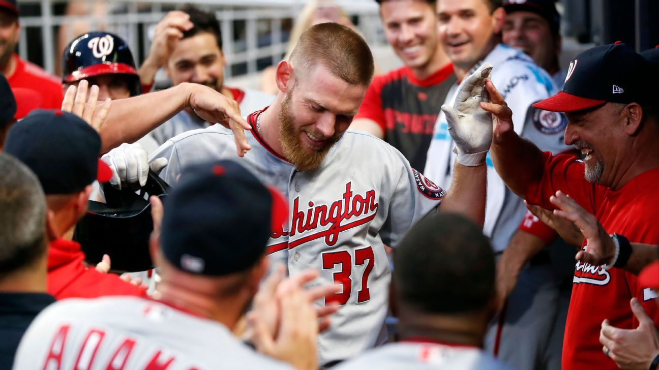 Strasburg gets 2 hits in one inning, including HR