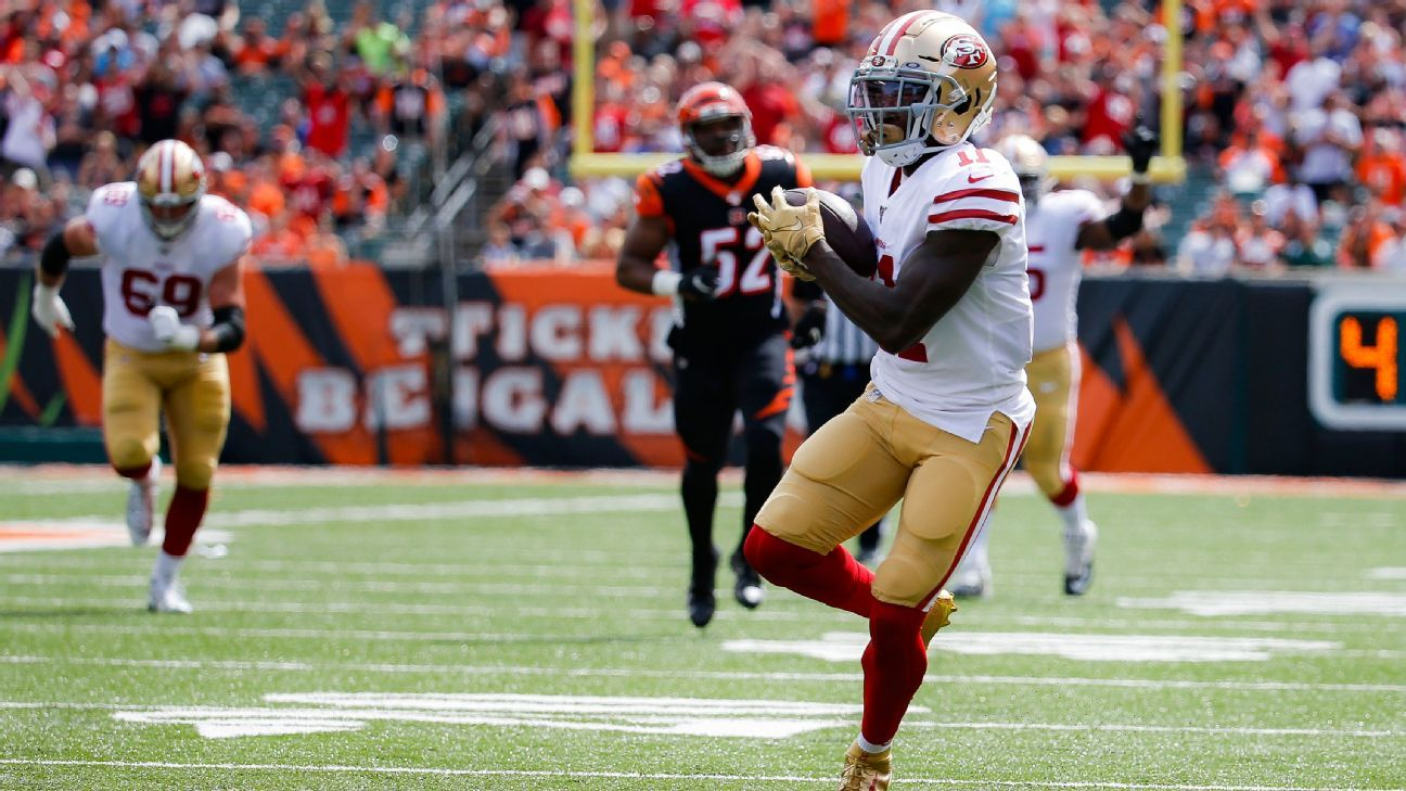 49ers' Marquise Goodwin hauls in most wide-open TD catch of season