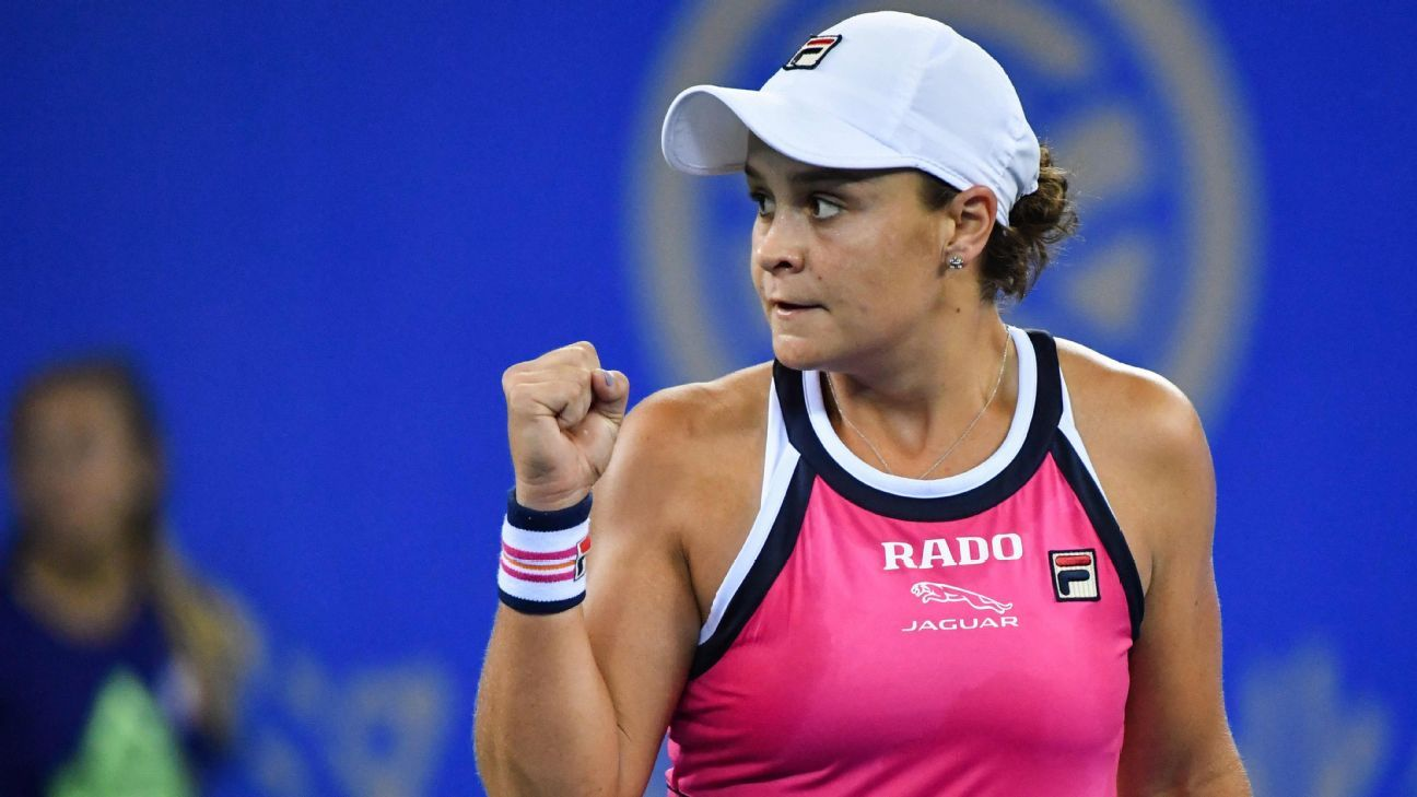 Barty drops 1st set, rallies past Garcia at Wuhan