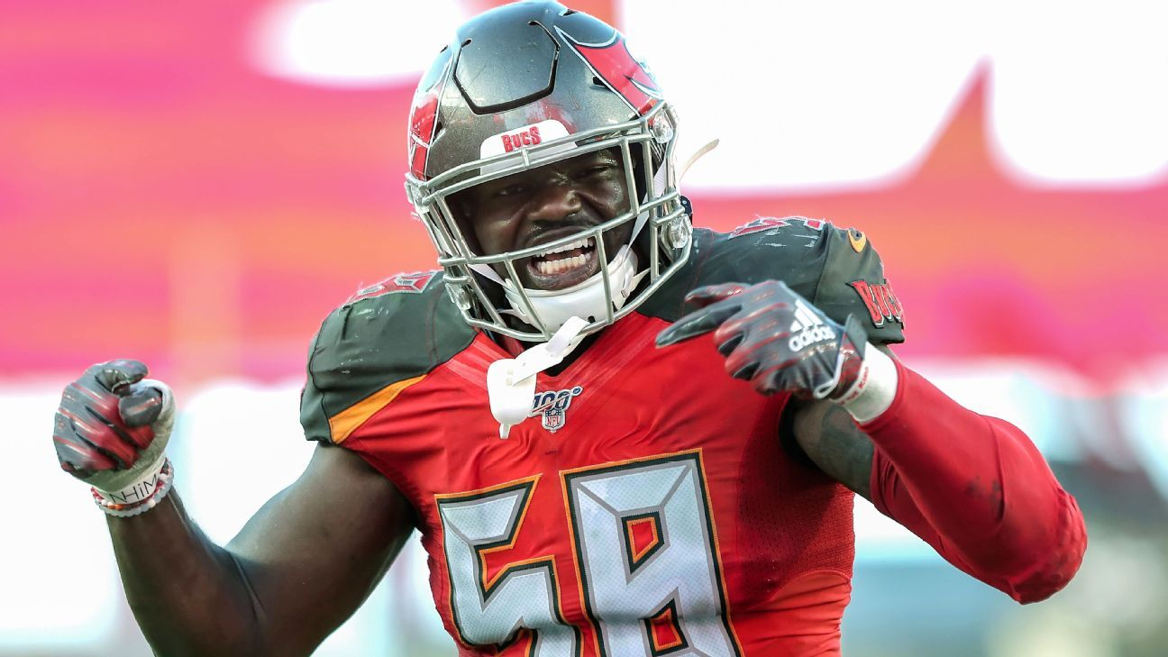 Bucs coach Bruce Arians says Shaq Barrett, who will be a free agent after the season, 'ain't going anywhere'