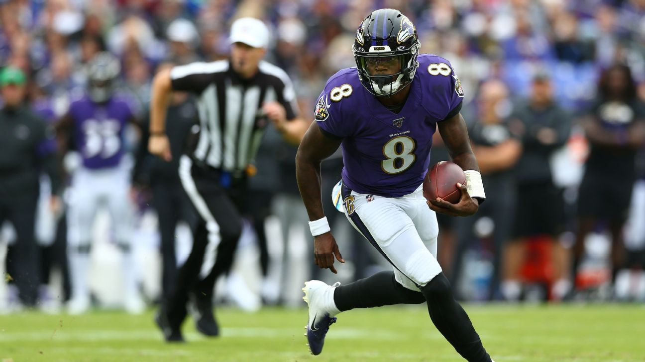 Ravens' Lamar Jackson 1st QB since Michael Vick to run for 100 yards in the first half