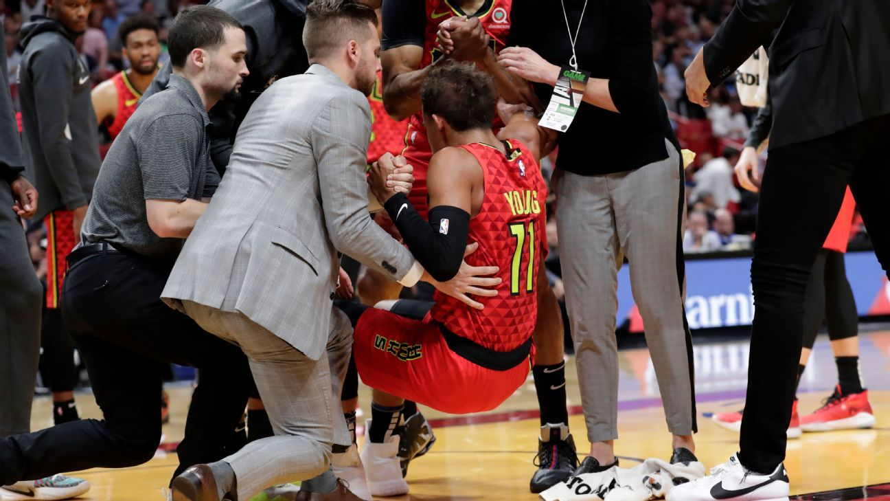 Hawks' Young to have MRI after spraining ankle