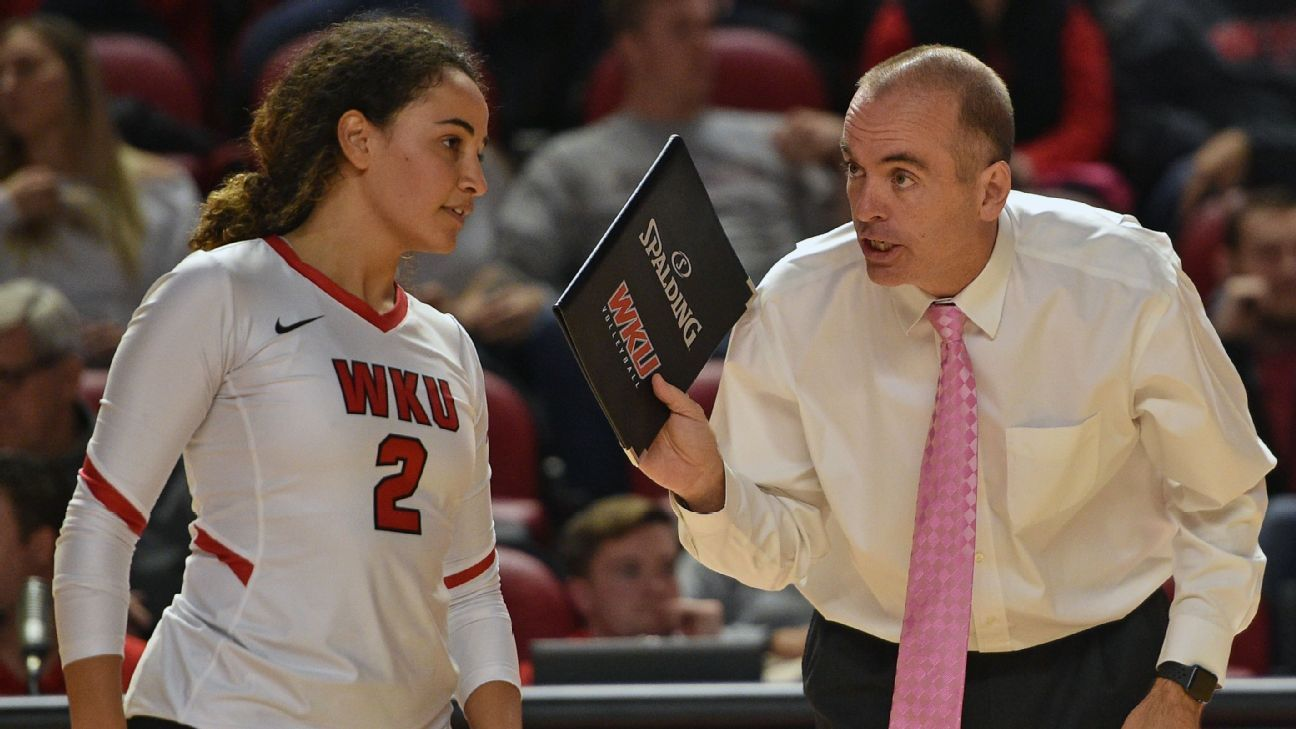 Coach Travis Hudson is the inspirational rock behind Western Kentucky volleyball