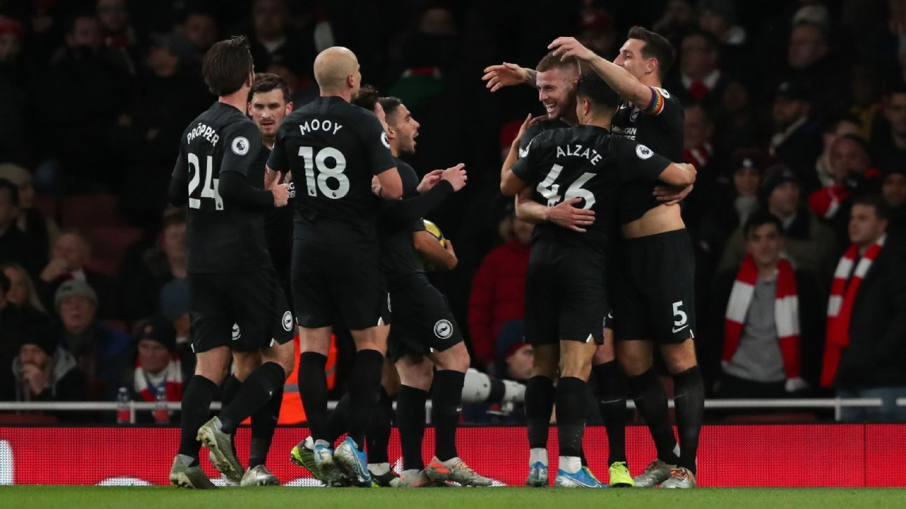 Arsenal fall to Brighton in Ljungberg's second match in charge