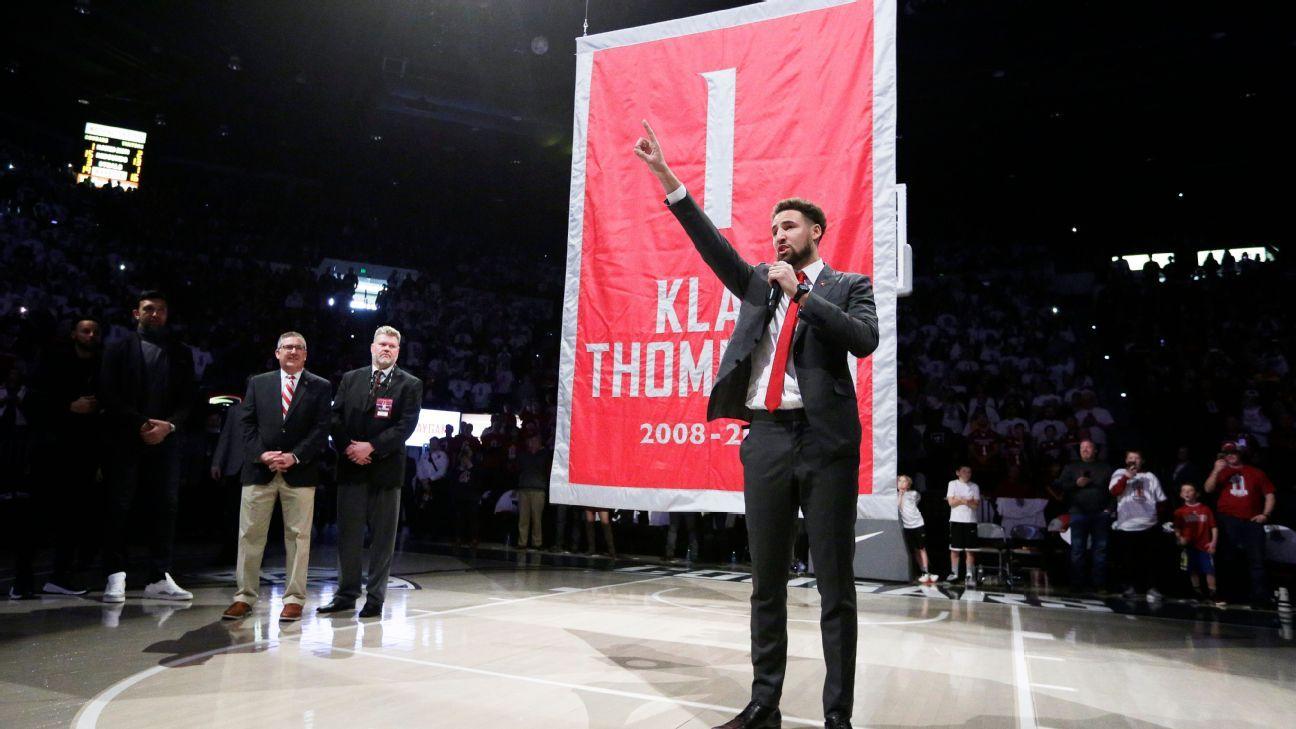 Warriors' Klay Thompson emotional as Washington State retires jersey