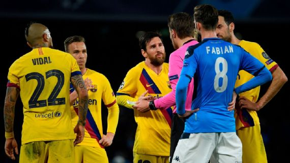Barcelona problems grow in feisty Champions League draw with Napoli