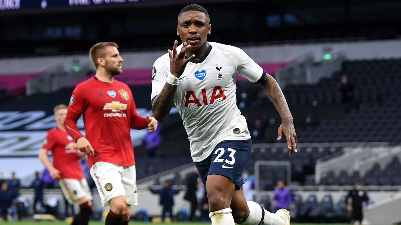 Spurs v United: Bergwijn celebrates his goal