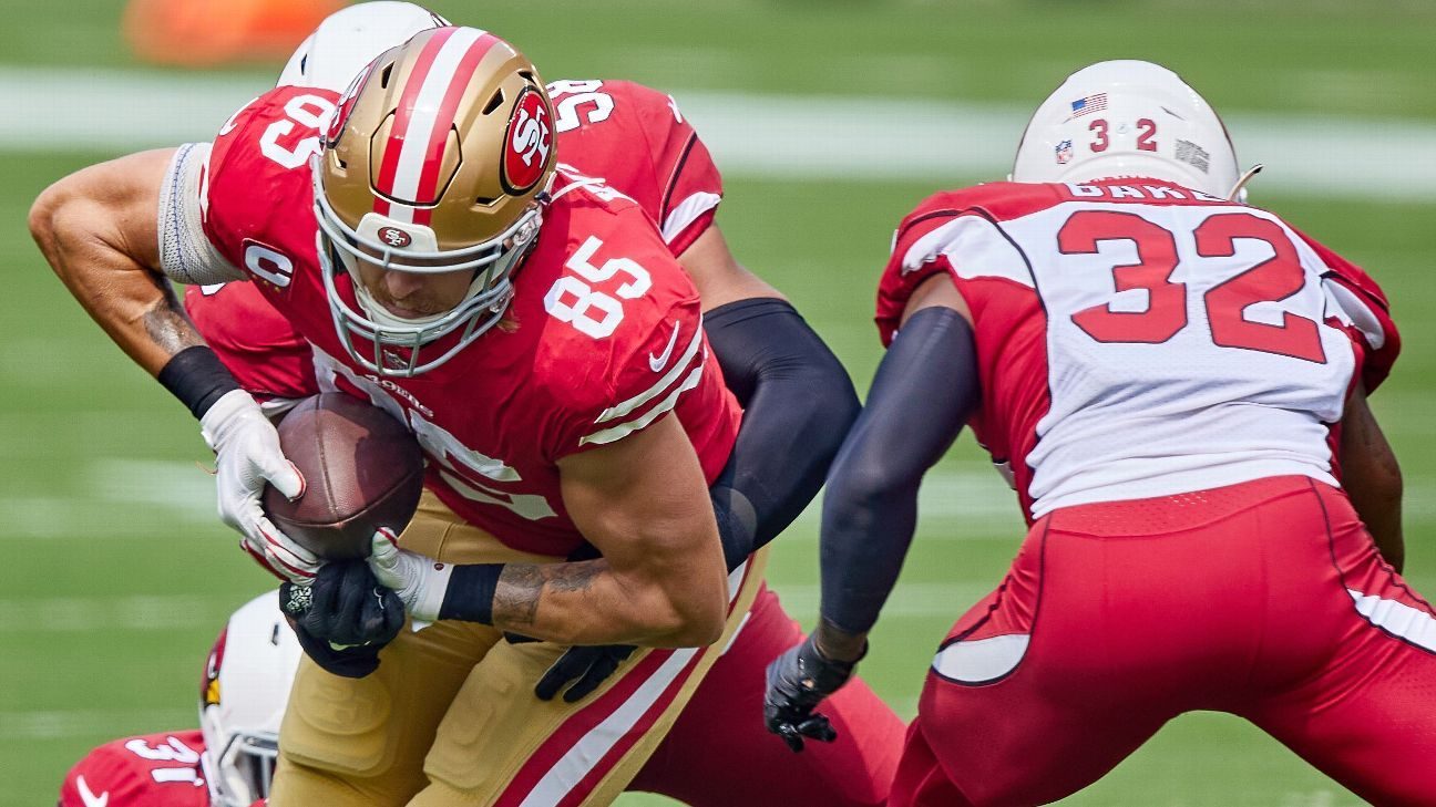 49ers TE Kittle ruled out with sprained knee