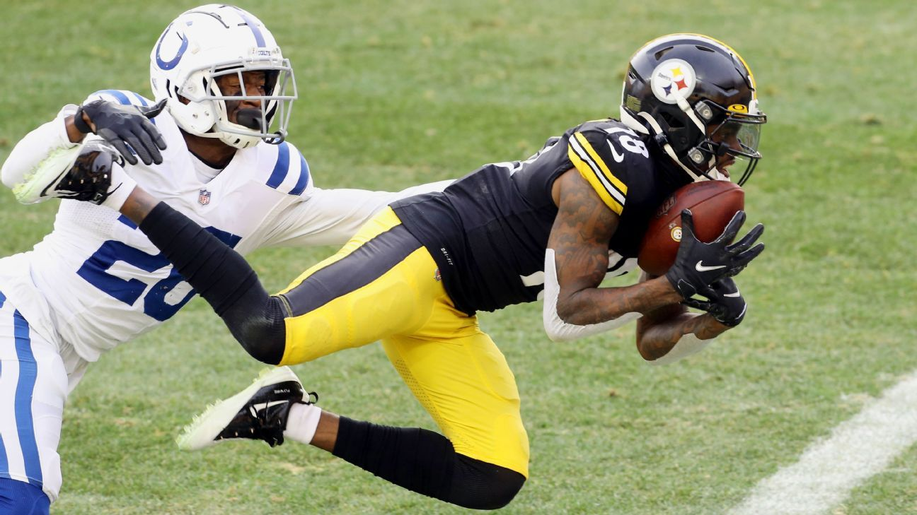 Pittsburgh Steelers' Diontae Johnson lays out for 39-yard TD catch vs. Indianapolis Colts – ESPN