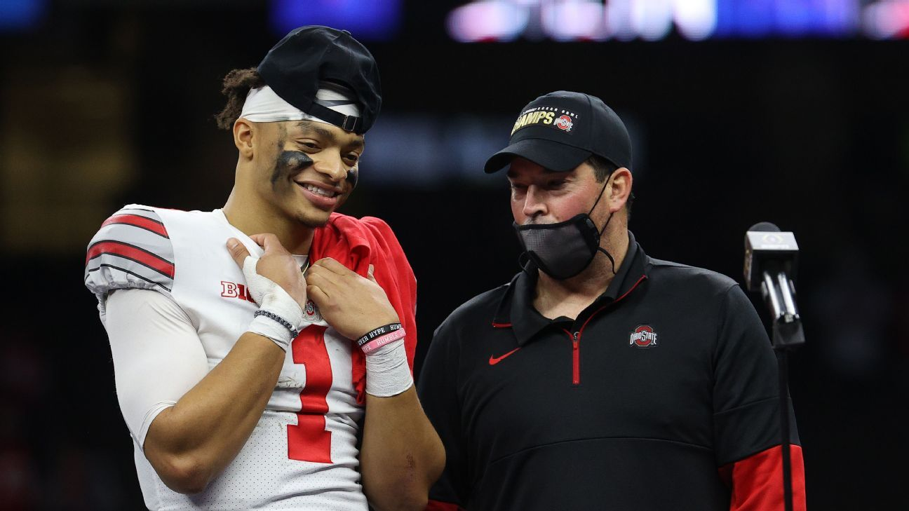 Ohio State Buckeyes coach Ryan Day expects QB Justin Fields to play in CFP title game – ESPN